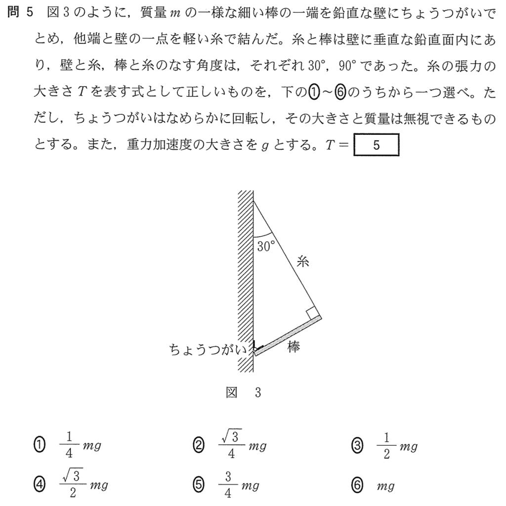 センター2015物理第1問 問5「モーメントのつり合い」
